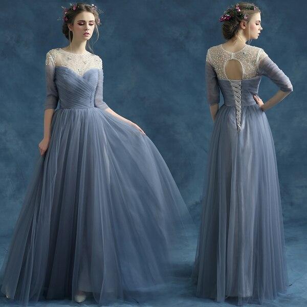 S 2016 nouveauté stock maternité grande taille robe de mariée robe de soirée longue luxe sexy romantique bleu gris 2825