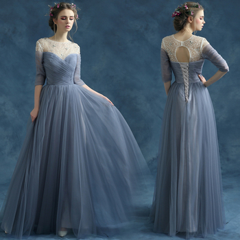 s 2016 new arrival stock maternity plus size bridal gown  evening dress long luxury sexy romantic Blue Gray 2825
