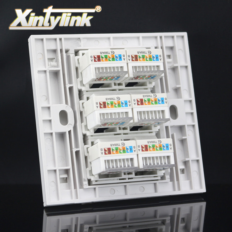 xintylink rj45 Socket jack modular 6 Port cat5e cat6 Keystone Wall Face plate Faceplate toolless white wall socket panel 86mm 24 pcs rj45 modular network pcb jack 56 8p w led 4 ports