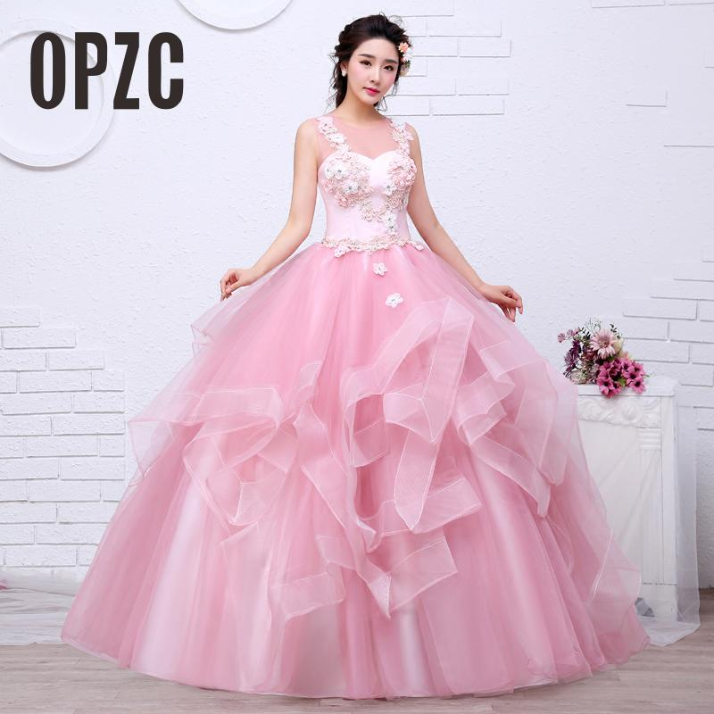 Free shippin Pink Color Yarn Girls Wedding dress 2017 New Fashion Simple Female Art Exam Gowns