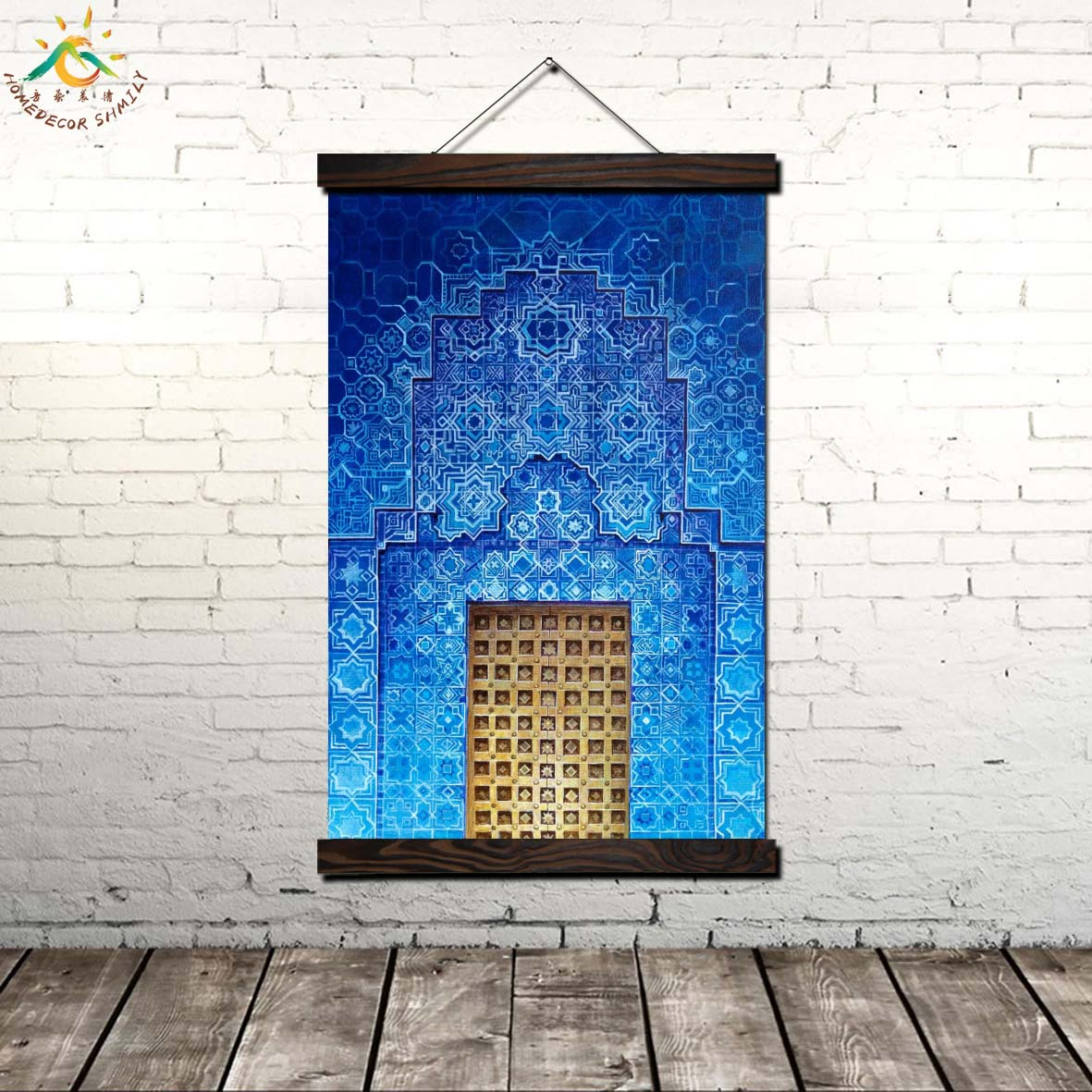 Islamic Blue Moroccan Door Modern Poster Art Prints Canvas Wall Painting Artwork Pictures Home Decor for Living Room