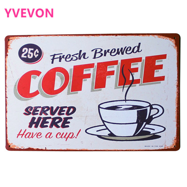 Fresh Brewed COFFEE Metal Tin Sign Vintage Style Plaque COFFEE Plate for Restaurant decor with art  sc 1 st  AliExpress.com & Fresh Brewed COFFEE Metal Tin Sign Vintage Style Plaque COFFEE Plate ...