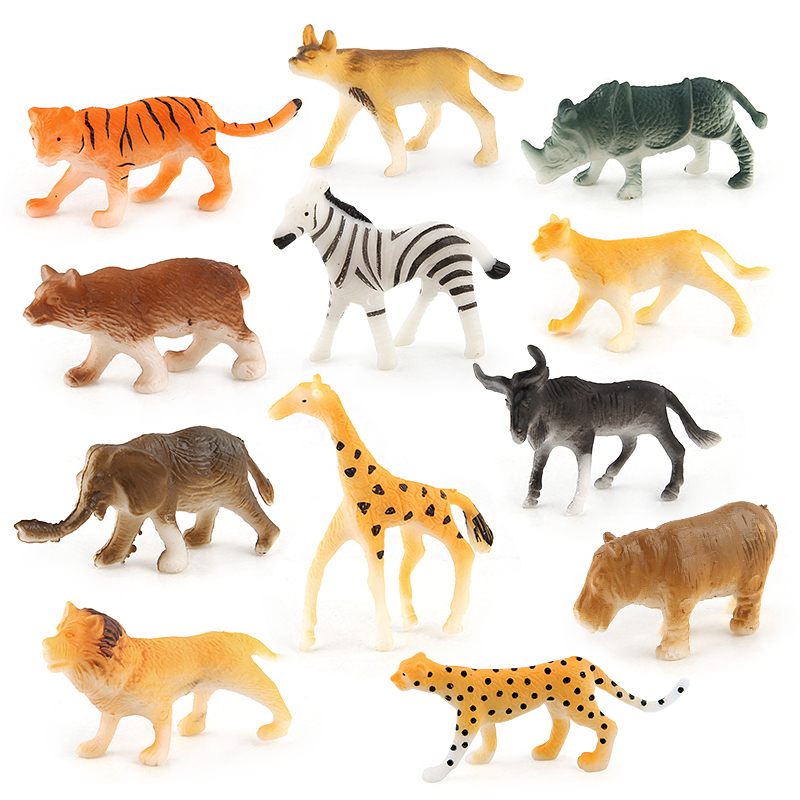12pcs/1lot mini figuer Simulation Animal Model Zebra wolf giraffe leopard tiger Animal PVC Collectible Toys Christmas Gifts Kids