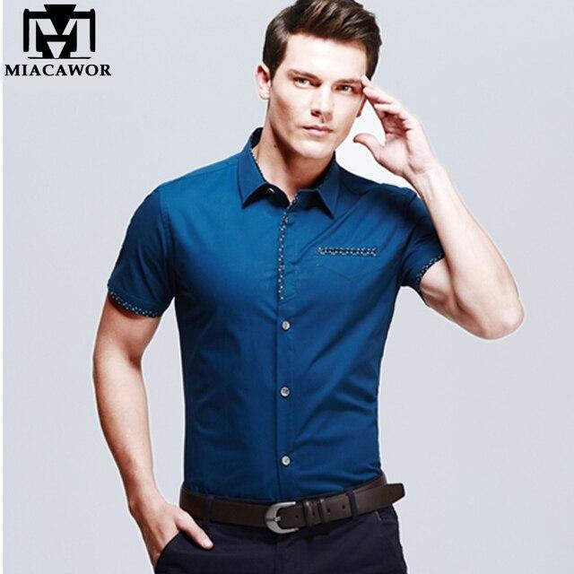 22cf2d020726 Европейский Дизайн Большие размеры Летняя мужская одежда Рубашки для  мальчиков хлопок Slim Fit Camisa социальной с