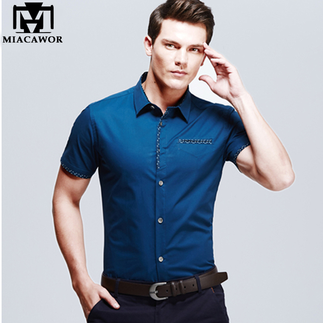 European Design Plus size Summer Mens Dress Shirts Cotton Slim Fit ...
