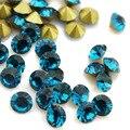 Blue Zircon del Color ~ 1440 unids/bolsa ss3 ~ ss19 Ronda flojos de Cristal del pointback, pegamento de uñas de arte de Cristal rhinestones