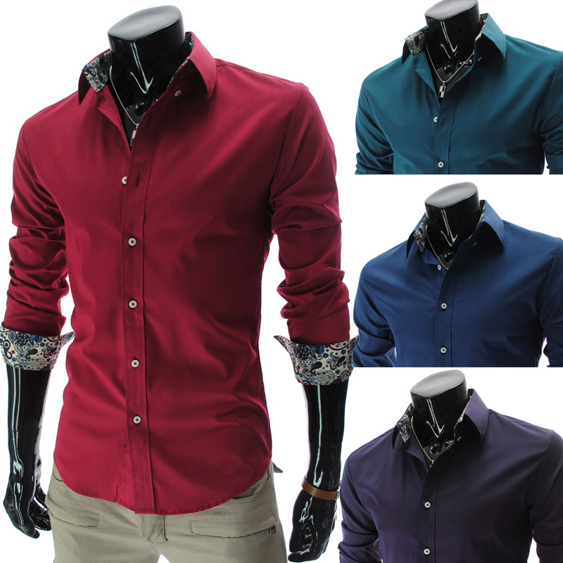 Hot Sale new 2015 fashion slim fit stylish long sleeve social ...