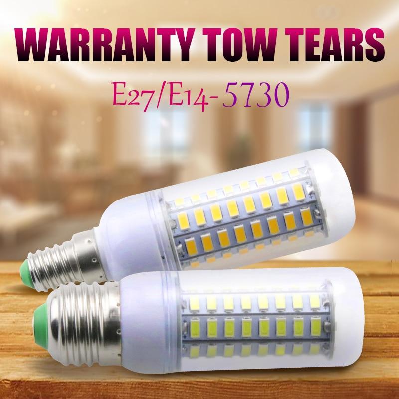 SMD5730 LED Lamp Corn Bulb Chandelier E14 5W 7W 12W 15W 20W 25W 240V For Home Lighting LED Bulb E27 220V 24 36 48 56 69 72leds