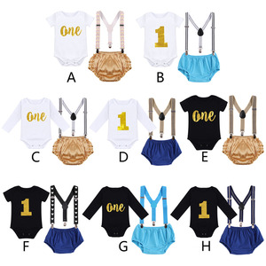 Image 4 - Cake Smash Outfit Baby Newborn Birthday Party Clothes Baby Boy & Girl Clothes for Photography Cute Baby Suspenders Shorts Outfit
