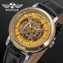 Winner Men s Watch Fashion Mechanical Leather Crystal Steampunk Analog Classic Band Wristwatch Color Gold WRG8002M3T1
