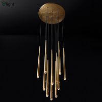 American Luxury Copper Chandelier Cable Pendant Chandelier Lighting RH Loft Led Hanging lamp Living Room Lustre Suspend Lamp