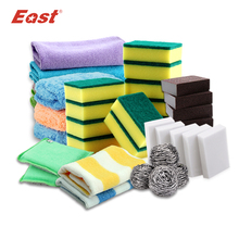 East High Quality Kitchen Cleaning Set Washing Towel Wiping Rags Sponge Scouring Pad Microfiber Dish Cleaning Cloth