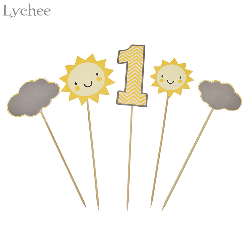 Lychee Sun Clouds Cake Toppers 1st Birthday Cake Supplies Cupcake Picks Baby First Party Decoration