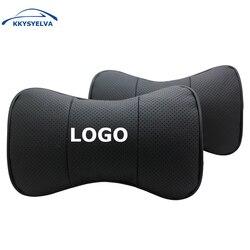 مخصص شعار جلد طبيعي أسود سيارة وسادات للعنق غطاء مقعد سيارات رئيس الرقبة وسادة استراحة مسند الرأس وسادة