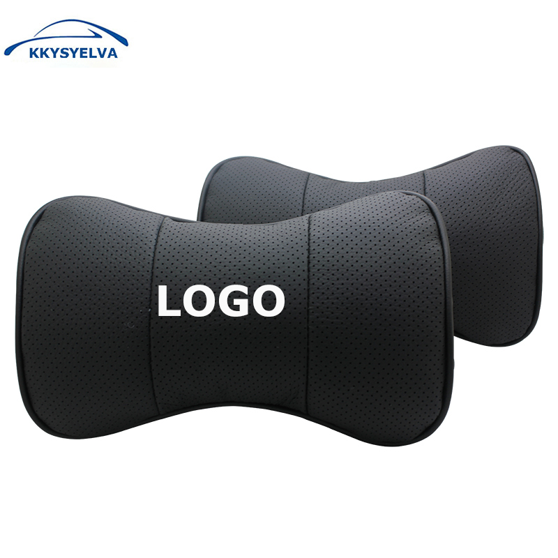 Custom Logo Black Genuine Leather Car Neck Pillows Auto Seat Cover Head Neck Rest Cushion Headrest Pillow