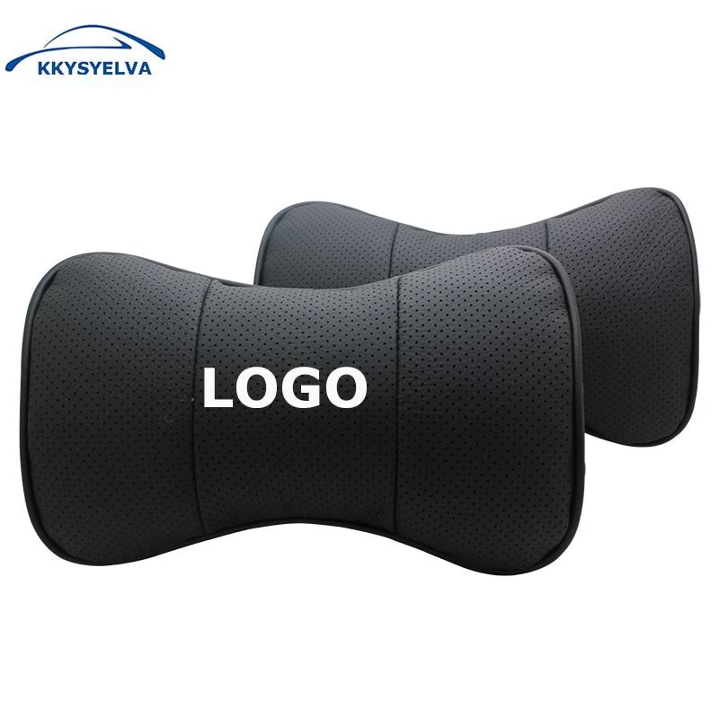 KKYSYELVA 4COLOR Custom Logo Black Genuine Leather Car Neck Pillows Auto Seat Cover Head Neck Rest Cushion Headrest Pillow