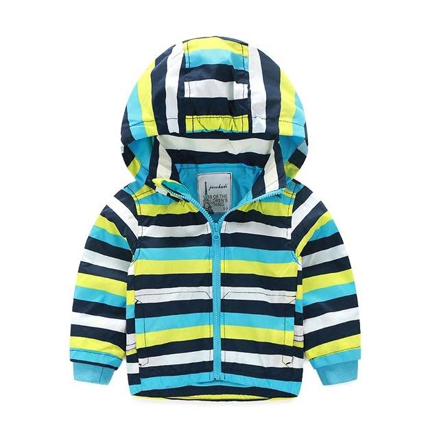 Crianças Roupas para Meninos Meninas 2016 Outono Stripe Coat para Meninos Com Capuz Duplo Zíper Jaquetas Blusão Outwear Roupas