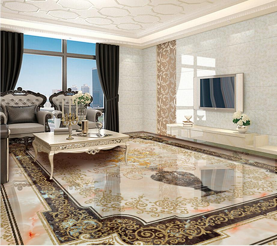 3d floor painting wallpaper European pattern vase marble floor 3d pvc wallpaper 3d flooring