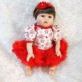 """22 """"Silicone bebês reborn bonecas para meninas brinquedos lifelike bebê recém-nascido com roupas vermelhas boneca brinquedo de menina"""