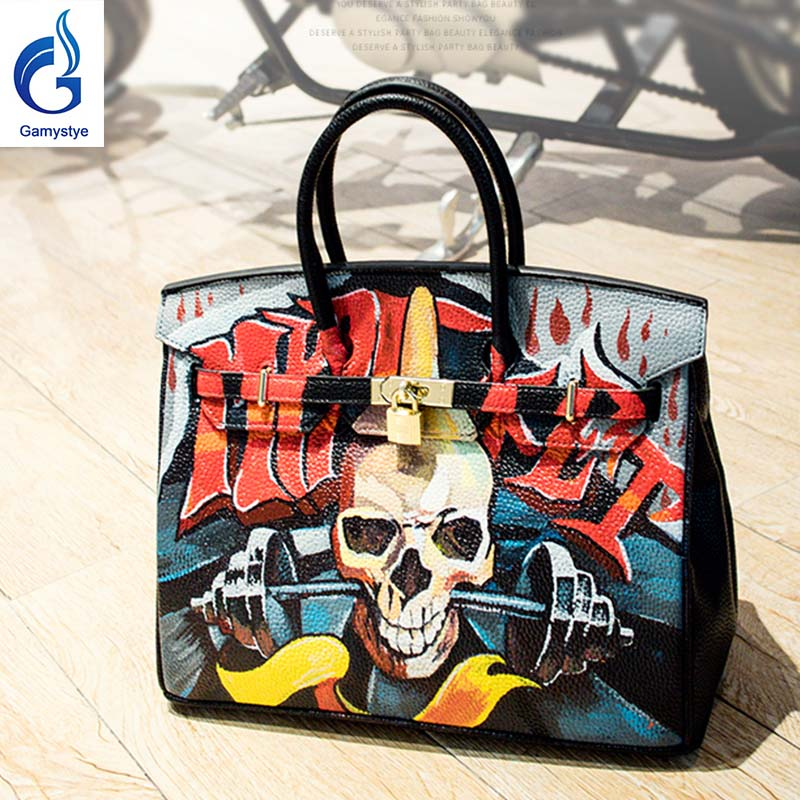 Graffiti custom bag women's bag female Leather Handbag lady totes Messenger Bags Hand Painted GRAFFITI ROCK SKULL bags Design YG