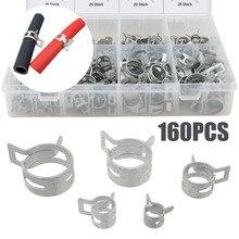 New 160pcs/Set 6.5mm 8.0mm 10mm 11mm 12mm 14mm 16mm 18mm Hose Clamp Set Screwdriver Clamps Assortment Kit