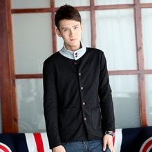 Thin male 2014 spring sweatshirt stand collar cardigan black long-sleeve slim men's clothing individuality sweatshirt