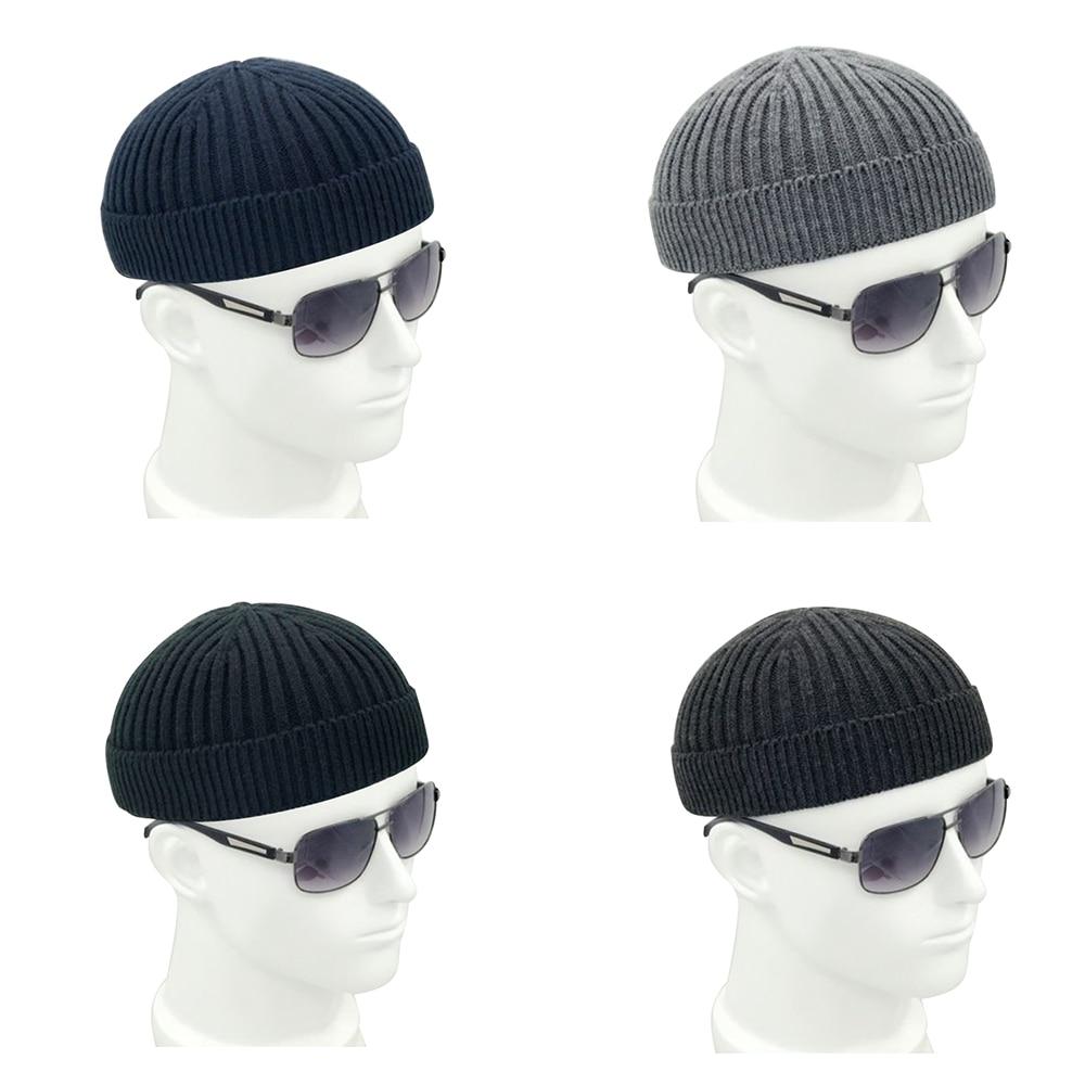 LEON Men Winter Knitted Skullcap Hat Women Solid Soft Wool Beanie Skull Cap Fashion Retro Navy Miki Warm Elastic Headwear