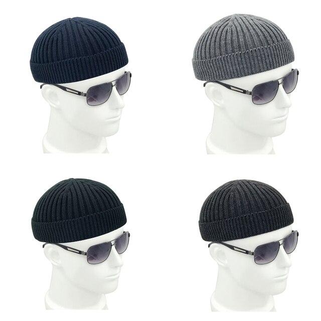 efc8babf75f8b LEON Men Winter Knitted Skullcap Hat Women Solid Soft Wool Beanie Skull Cap  Fashion Retro Navy Miki Warm Elastic Headwear