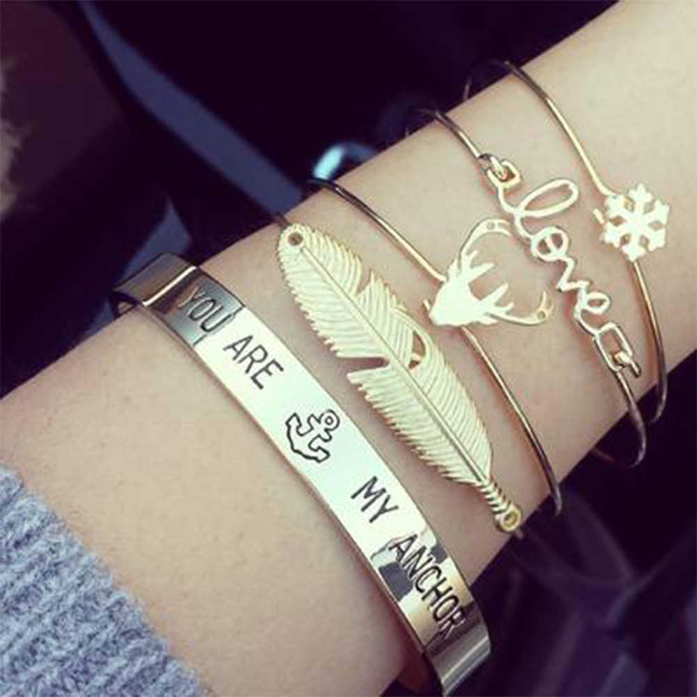 KISSWIFE Feather Deer Snowflake Open Bangles Set Women Girl Gold Color  Antlers Love Letter Cuff Bracelet Statement Charm Jewelr