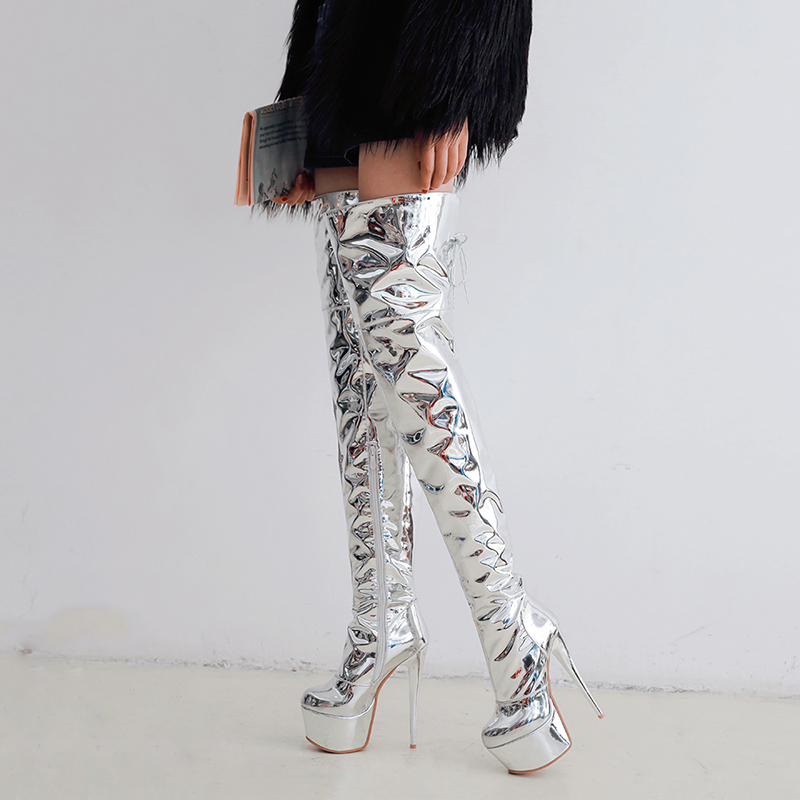WETKISS/зеркало Сапоги выше колена из искусственной кожи Для женщин сапоги очень высокий каблук на платформе женские ботинки с круглым носком ...