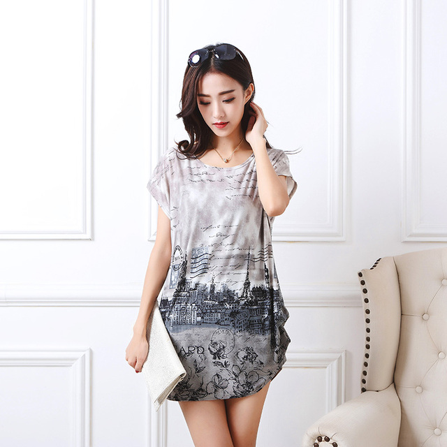 2017 summer women casual print  fashion short sleeve t shirt tops & tees pullover loose  fashion tunic plus size L-5XL
