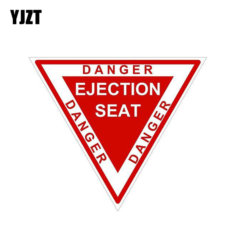 YJZT 10.5CM*9CM Wanring Motorcycle Helemt EJECTION SEAT Danger Car Sticker 6-1938