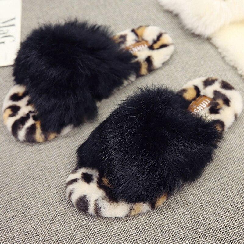 1d83411666dd70 Beige Léopard Chaussures Tongs Fourrure Femme Chaussons Pour Maison En  Chaud Femmes Peluche D'hiver black Automne Appartements Pantoufles ...