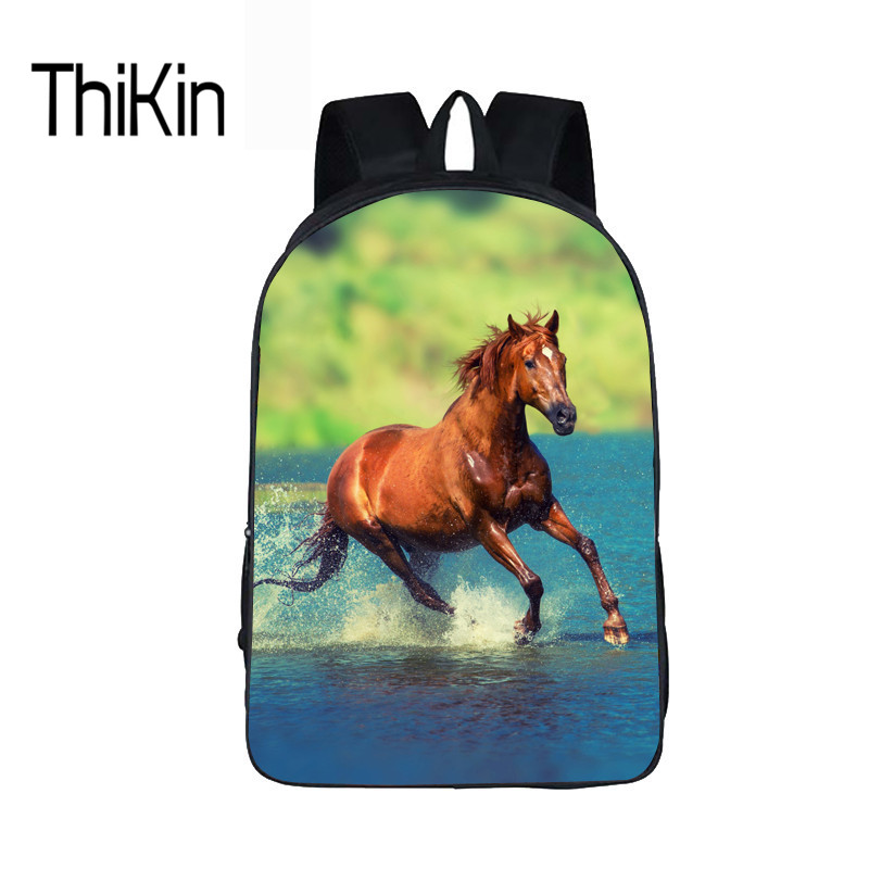 THIKIN Horse Schoolbag Backpack For Kids Girls Boys Printed High Quality School Daypack Mochila Escolar Children Animals Bookbag