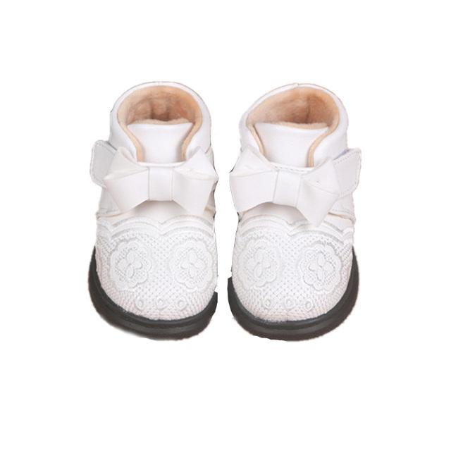 Nueva flor infant toddler muchachas de la princesa de invierno súper cálida lana bow shoes botas botines bebé recién nacido suela blanda