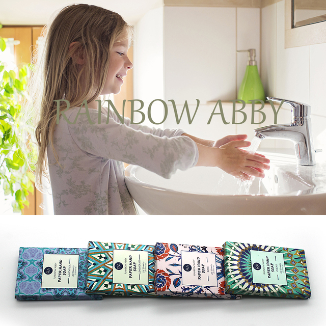25PCS/Box Portable Disposable Soap Paper Refreshing Scent Mini Washing Hand Soap Outdoor Travel  4 Flavors/Set 3