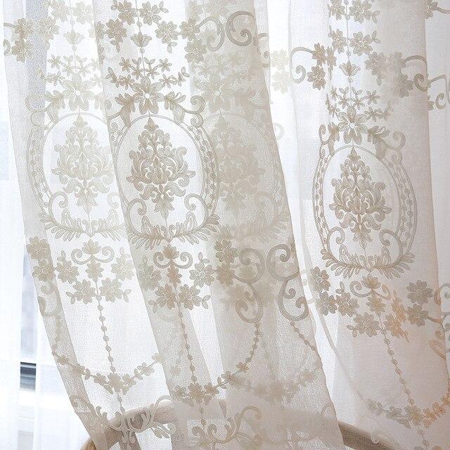 Bianco tende per camera da letto tende Ready made ricamato voile ...