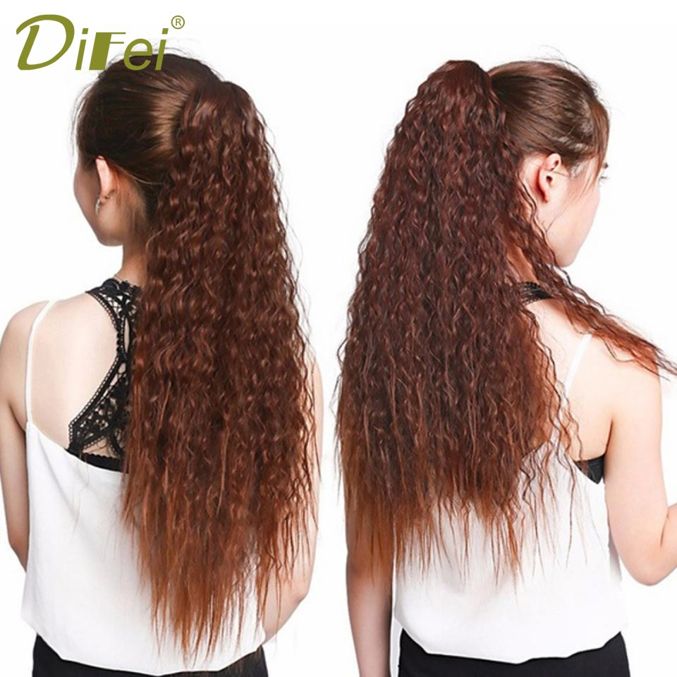 DIFEI Long Wavy Curly Ponytail Claw and Ribbon Drawstring Ponytails For Women Synthetic Ponytail Pony Tail Heat Resistant ...
