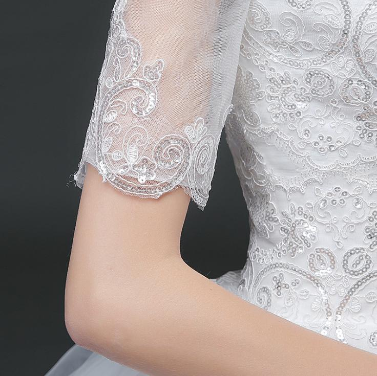 VENSANAC 2018 Sequined Boat Neck Ball Gown Lace Appliques Wedding Dresses Illusion Short Sleeve Backless Bridal Gowns in Wedding Dresses from Weddings Events