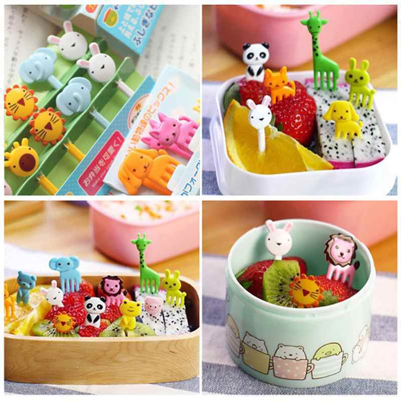 2016 new arrivals 10pcs bento lunch box decor accessory set animal food fruit picks forks. Black Bedroom Furniture Sets. Home Design Ideas