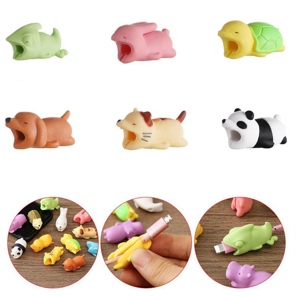 1Pc Cute Animal Shape Cable Winder Cable Protector Soft Silicone Data Line Protective Cover Mobile Phone Accessories