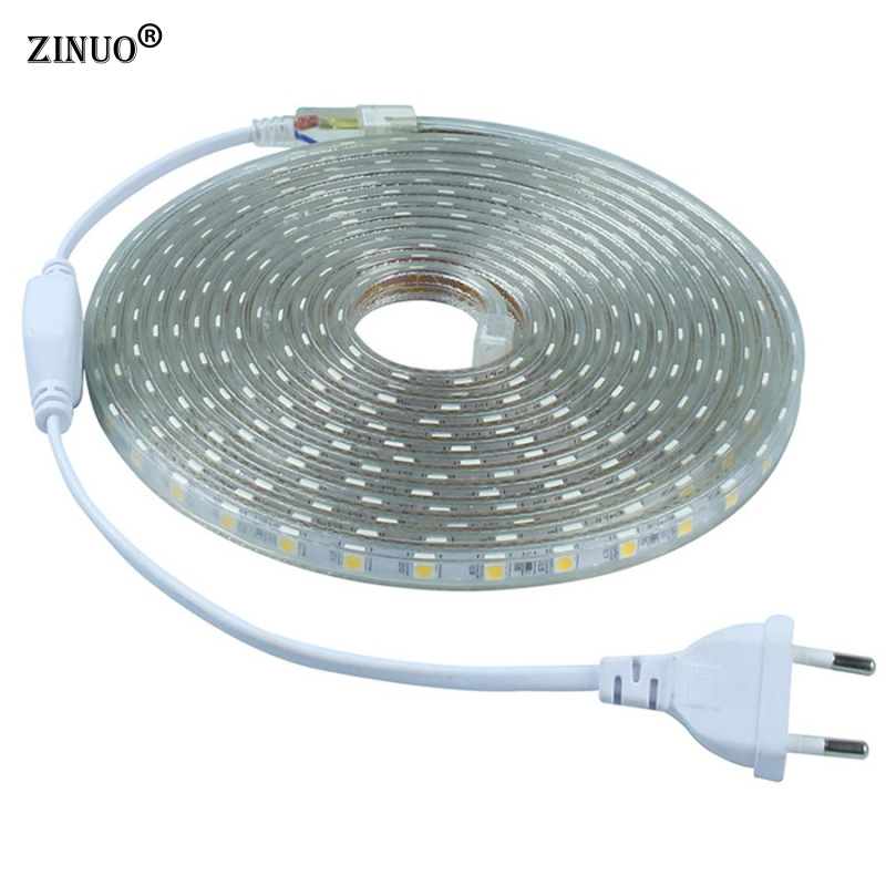 цены ZINUO 220V 5050 Flexible Led Strip Light 1M/2M/3M/4M/5M/6M/7M/8M/9M/10M/15M/20M+Power Plug,60leds/m IP65 Waterproof led Ribbon