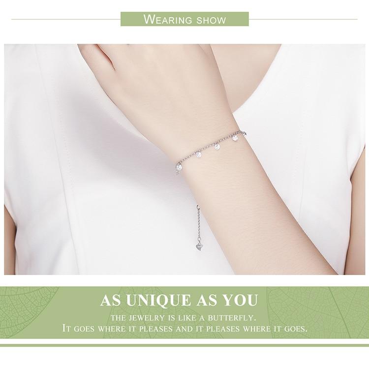HTB17YUXwYZnBKNjSZFGq6zt3FXaW BAMOER 925 Sterling Silver Simple Geometric Crystal CZ Link Chain Bracelets & Bangles for Women Authentic Silver Jewelry SCB103