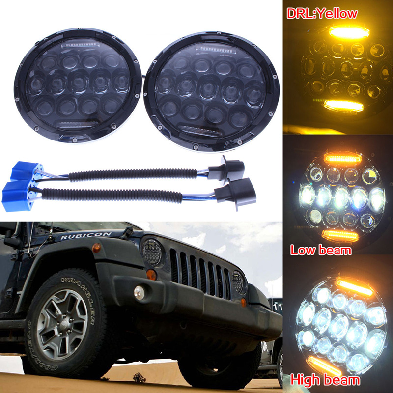 Us 63 55 11 Off For Jeep Wrangler Projector Lens Headlight 7 Inch 75w Led Headlight Bulb Drl Amber Turn Signal Fit For Jk Tj Fj Cruiser Hummer In