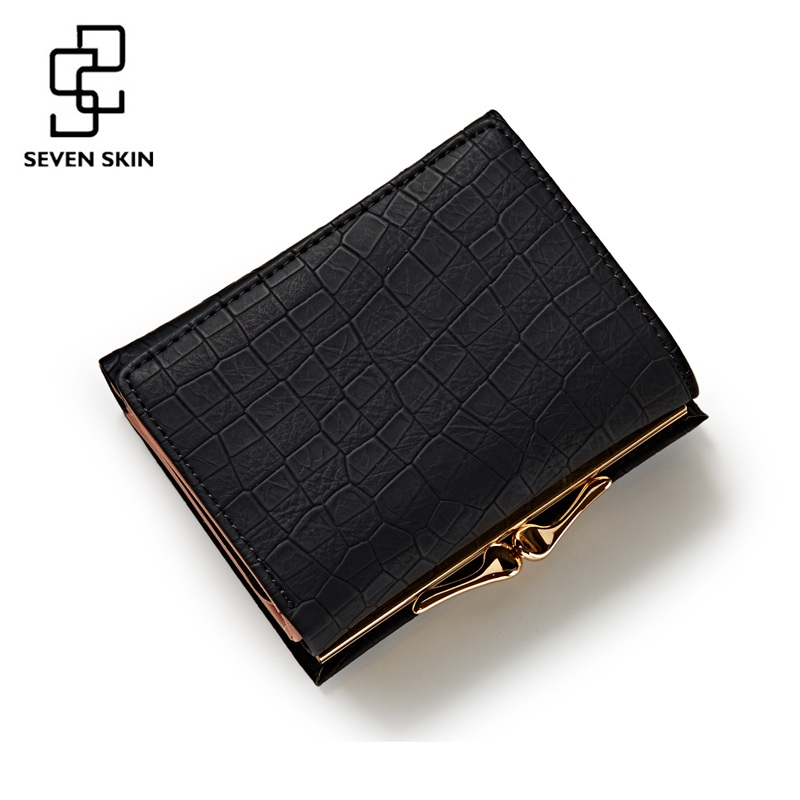 SEVEN SKIN Brand New Women Fashion Small Wallet with Lock Female Mini Coin Purse Short Design PU Leather Slim Clutch Card Holder 2017 genuine cowhide leather brand women wallet short design lady small coin purse mini clutch cartera high quality