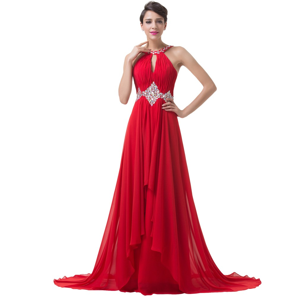 Grace Karin Long Red Evening Dresses 2018 Backless Beaded Chiffon Floor Length Elegant Formal Gowns Prom Sexy Party Dresses 8