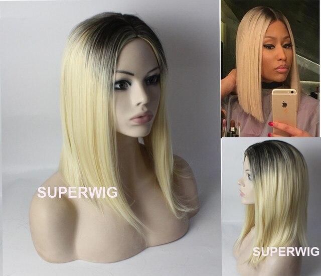 Promi Perücken Synthetische Haar Mittellang Lange Gerade Ombre