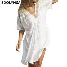 8daa84ee0d2bd Dantel Patchwork tunik plaj elbise kadın yaz pamuk elbiseler seksi Mini elbise  artı boyutu bohem plaj elbiseleri Vestidos # N389