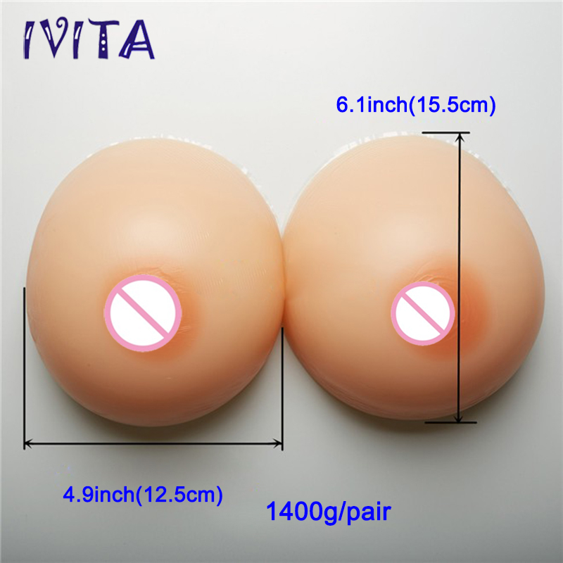 ФОТО 1400g Realistic Full Silicone Artificial Breast Forms False Boobs Enhancer For Crossdresser