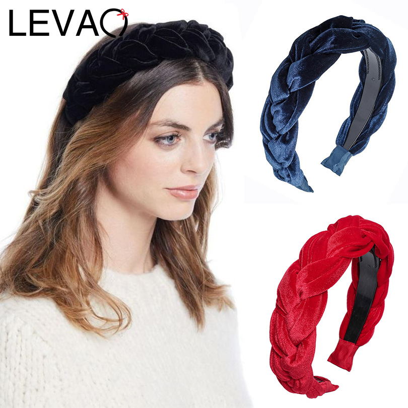 LEVAO Western Style Gold Velvet Handwork Twist Wide Size Wild Hairbands Bezel Turban Women Headbands Girls Accessories   Headwear